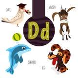Roliga djura bokstäver av alfabetet för utvecklingen och lära av förskole- barn Uppsättning av den gulliga skogen, hemhjälpen och Royaltyfri Foto
