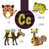Roliga djura bokstäver av alfabetet för utvecklingen och lära av förskole- barn Uppsättning av den gulliga skogen, hemhjälpen och Royaltyfria Foton
