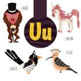 Roliga djura bokstäver av alfabetet för utvecklingen och lära av förskole- barn Uppsättning av den gulliga skogen, hemhjälpen och Arkivfoton