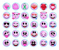 Roliga emojisymboler ställde in för rengöringsduk på vit bakgrund royaltyfri bild