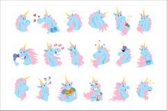 Roliga enhörningtecken med olika sinnesrörelser ställde in färgrika vektorillustrationer royaltyfri illustrationer