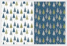 Roliga enkla abstrakta julgranvektormodeller Grönt och mörkt - blåa trianglar vektor illustrationer