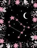 Roliga enkla rosa Gemini Vector Sign Blom- ram, vit måne och stjärnor stock illustrationer