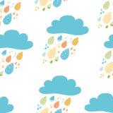 Roliga färgrika droppar av modellen för höst för vektor för regnmoln den sömlösa Dragen tryckbar design för ungenedgångbakgrund h vektor illustrationer
