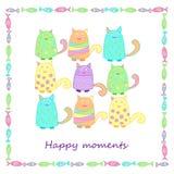Roliga färgrika katter med fisken Arkivbild