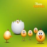 Roliga fågelungar för påskägg - bakgrundsillustration - lycklig easte Arkivfoton