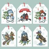 Roliga fåglar för jul, snögubbeetikettsuppsättning Royaltyfri Foto