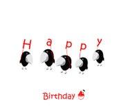 Roliga fåglar för kort för lycklig födelsedag royaltyfri illustrationer