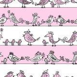 Roliga fåglar som är seamless mönstrar för din design Royaltyfri Fotografi