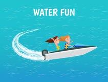 Roliga flickor för vatten som rider vektorn för affisch för motorfartyg stock illustrationer