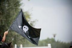 Roliga glade roger piratkopierar flaggan för ` s Royaltyfri Foto