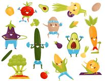 Roliga grönsaker som gör sportar, sportive avokado, majskolv, aubergine, broccoli, gurka, morot, tomat, peppar, potatis stock illustrationer