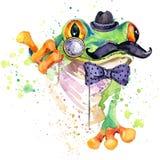Roliga grodaT-tröjadiagram grodaillustration med texturerad bakgrund för färgstänk vattenfärg ovanlig fa för illustrationvattenfä Royaltyfria Foton