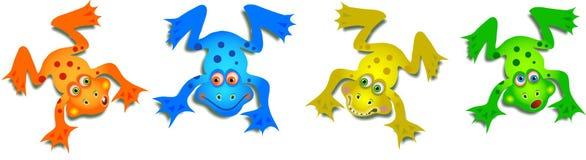 Roliga grodor för gullig tecknad film vektor illustrationer