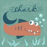 Roliga gulliga fisktecken Havstecknad filmillustration royaltyfri illustrationer