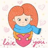 Roliga gulliga flickatecken tecknad filmförälskelse royaltyfri illustrationer