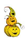 roliga halloween pumpor Fotografering för Bildbyråer