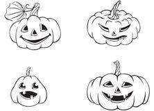 Roliga Halloween pumpor royaltyfri illustrationer
