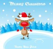 Roliga hjortar för vektorbaner i den Santa Claus hatten och skridskor på isisbanan på blå bakgrund Royaltyfri Bild