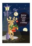 Roliga hjortar med symboler av jul royaltyfri illustrationer