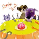 Roliga husdjur på födelsedagpartiet Arkivbild
