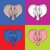 roliga huvud för elefant Royaltyfri Bild