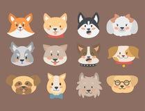 Roliga huvud för tecknad filmhundtecken panerar illustrationen för vektorn för tecknad filmvalpen den vänliga förtjusande hund- Arkivbilder