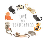 roliga isolerade objekt för djur familj för tecknad filmkatttecken royaltyfri illustrationer