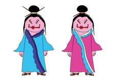 roliga japanska kvinnor royaltyfri illustrationer