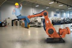 Roliga Job Safety, fabriksarbetare arkivbild