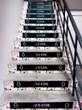 Roliga kaloridekaler på trappa arkivbilder