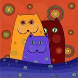 roliga katter vektor illustrationer