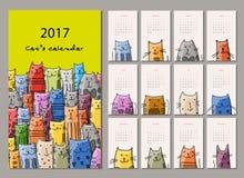 roliga katter Designkalender 2017 stock illustrationer