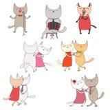 Roliga katter i en milonga royaltyfri illustrationer
