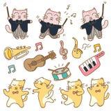 Roliga katter med musikinstrumentet vektor illustrationer