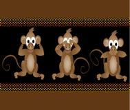 Roliga kloka apor ser ingen ondska höra ingen ondska tala Arkivfoto