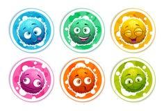 Roliga ljusa runda klistermärkear med fluffiga monster för tecknad film stock illustrationer