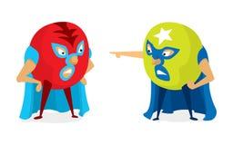Roliga luchadores eller brottare som utmanar en strid royaltyfri illustrationer