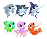Roliga marin- djur vektor illustrationer