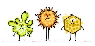 roliga microbes royaltyfri illustrationer