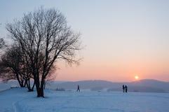 Roliga modeller av flygplan, solnedgång i bergen, vinter Royaltyfri Fotografi