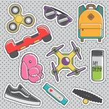 Roliga moderiktiga emblem för mode för tappningklistermärkehype stock illustrationer