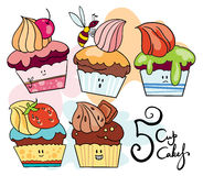 5 roliga muffin Royaltyfri Fotografi
