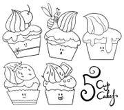 5 roliga muffin Fotografering för Bildbyråer