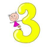 Roliga nummer med barn för tecknad filmtecken 3 Arkivbilder