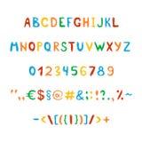 Roliga och gulliga barns alfabet och diagram Arkivbild