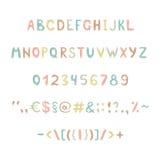 Roliga och gulliga barns alfabet och diagram Royaltyfri Bild