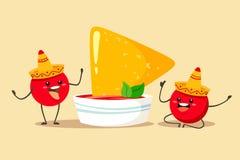 Roliga och gulliga tomater i en sombrero med en kopp av sås- och nachoschiper Vektorillustration i tecknad filml?genhetstil stock illustrationer