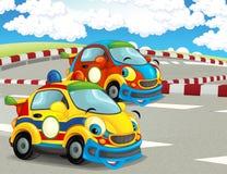 Roliga och lyckliga seende tävlings- bilar för tecknad film på loppspår Arkivbilder