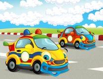Roliga och lyckliga seende tävlings- bilar för tecknad film på loppspår Royaltyfri Bild